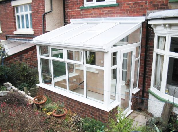 Lean To Conservatories White Lean To With Single Door And