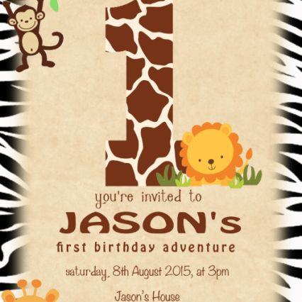 jungle safari theme birthday invitation