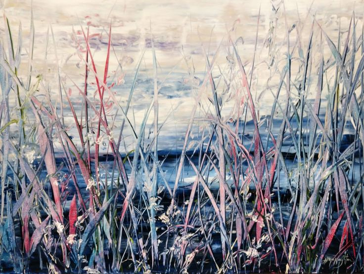 Creekside Resting Place 30x40 inches, acrylic on canvas painting by Hanna MacNaughtan, copyright 2018.