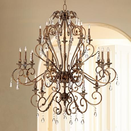 Acanthus and crystal 68 wide bronze chandelier