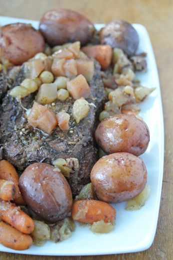 Slow Cooker Beef Roast with Apple, Carrots, Onions, and Red Potatoes ~ part of our 31 Days of Slow Cooker Meals   5DollarDinners.com