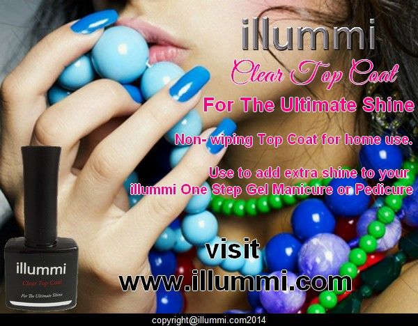 illummi Non-Wipe clear top coat. For the ultimate shine. Use with illummi One Step Gel Polish !