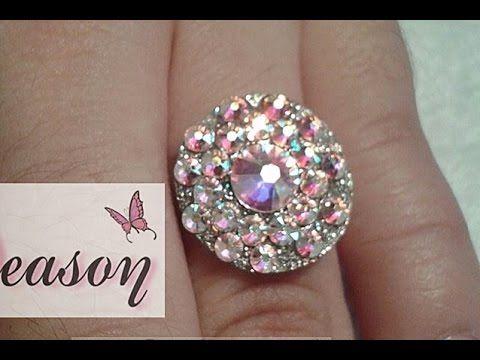 como hacer joya de acrilico con cristales paso a paso / aro con cristales para anillo - YouTube