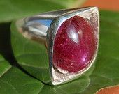 Huge Red Ruby Hand Carved One of A Kind Sterling Silver Ring, Eye Ruby Ring, Huge 25 Carat Cabochon Ruby