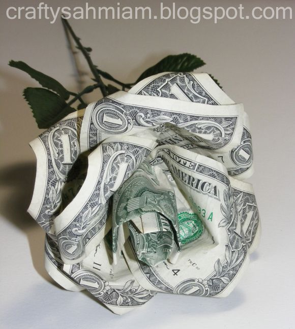 Money origami rose tree bush valentine graduation gift | Etsy | 648x580