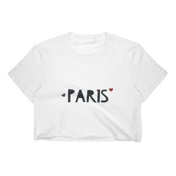 """ Paris"" Women's Crop Top ($25) ❤ liked on Polyvore featuring tops, white top, white fitted top, fitted tops, form fitting tops and textured crop top"