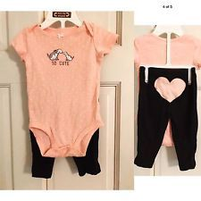 Carters Baby Girl 6 Month Outfit Pink & Navy Puppy So Cute Heart