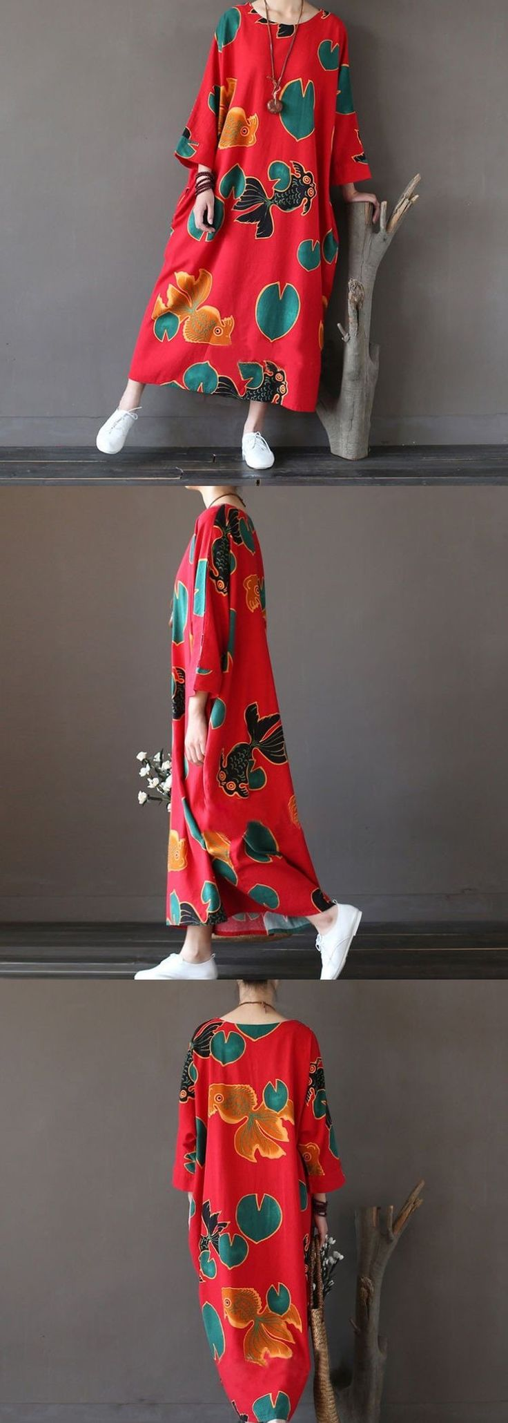 Red loose long dress women clothes