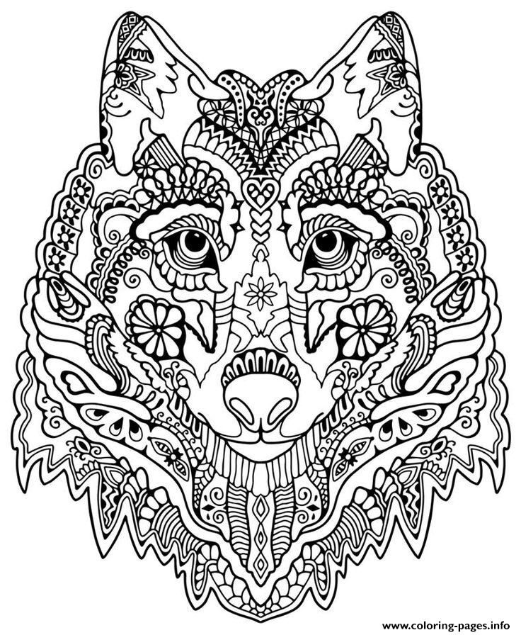 Print cute wolf adult mandala grown up coloring pages