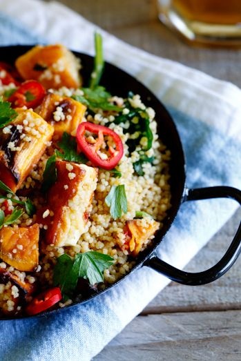 wholewheat couscous salad with haloumi and roasted sweet potato - added mint, pomegranate and parsley