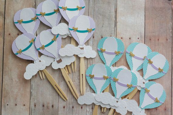 Hot Air Balloon Cupcake Toppers Multi by VanessaGrantEvents