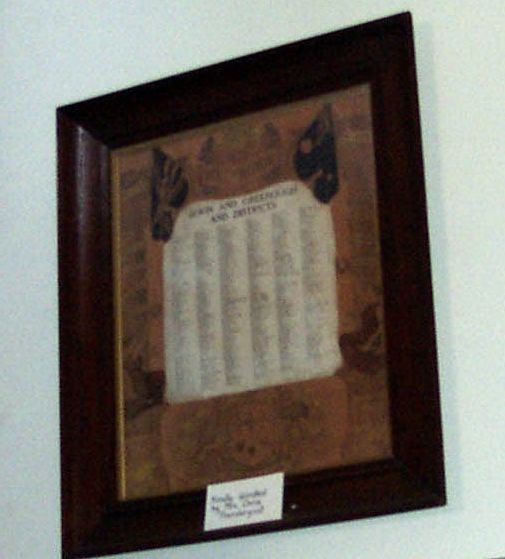 Irwin and Greenough Honour Roll for WWI.