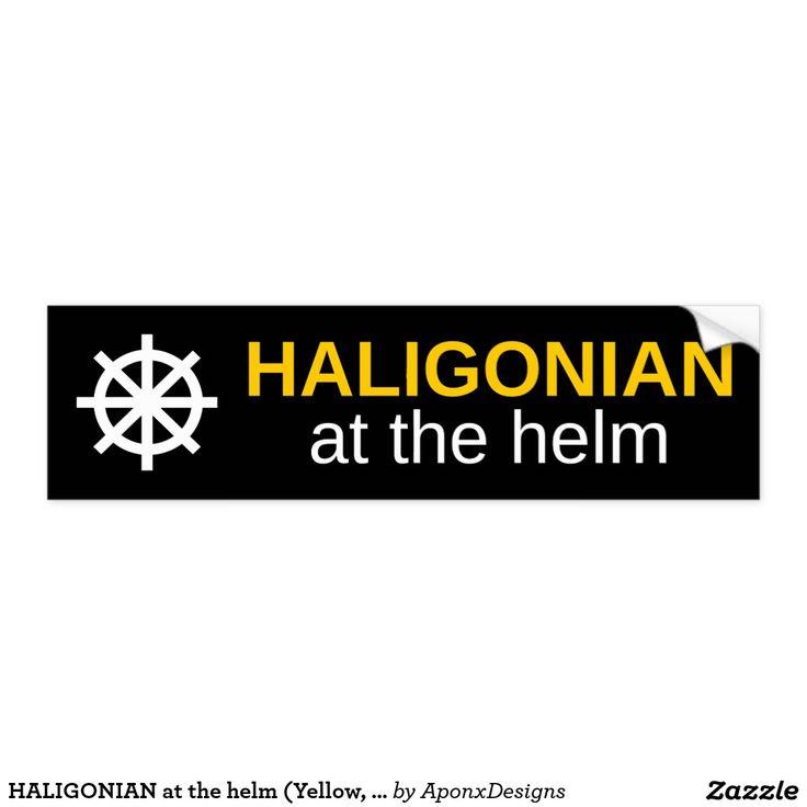 HALIGONIAN at the helm (Yellow, White, Black) : Bumper Sticker