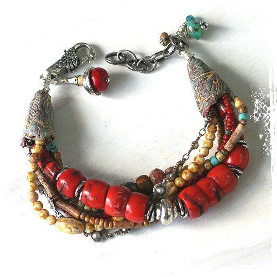 Multi-strand Tribal Coral Bracelet // Red Rustic Beaded Bracelet // Southwestern Mixed Media Statement Bracelet