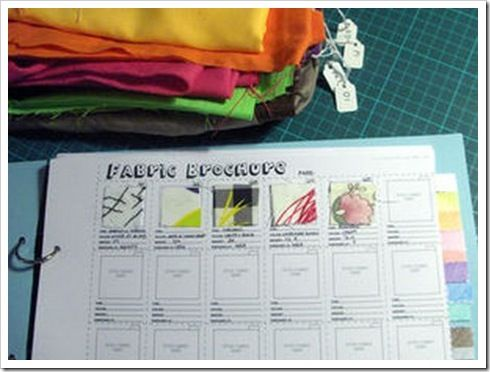 """some great fabric storage ideas, but I'm pinning this for the """"Fabric Brochure"""" idea- organize your fabric into a binder of swatches listing amount, fibre etc - refer to your stash whenever necessary!!"""