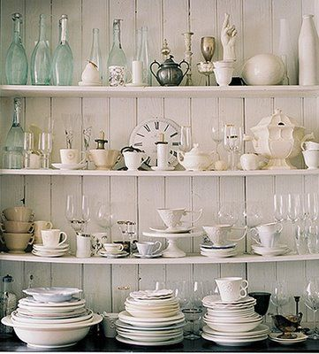 white: Kitchens, Dining Room, Shabby Chic, Decorating Ideas, Shelves, Dishes, Display, Design