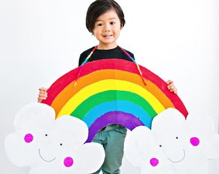 DIY HAPPY CARDBOARD RAINBOW COSTUME FOR KIDS