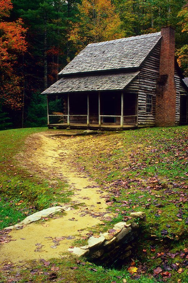 A Fine Mountain Cabin - A well worn path leads to this old cabin in Cades Cove, a low area surrounded by peaks in Great Smoky Mountain National Park.