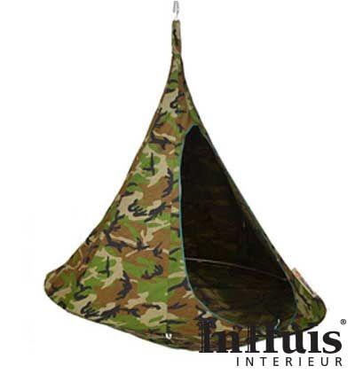 Met de Cacoon Camouflage wordt je een met de natuur. Vooral buiten kan je heerlijk genieten van deze stoere Cacoon. Terwijl je helemaal verdwijnt in de natuur. #Cacoon #Hangplek #Hang #Plek #Chill #Relax #Stoel #Tent #Wigwam