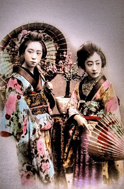 Two Belles of Old Japan hand-tinted albumen photograph