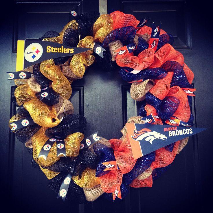 NFL House Divided Pittsburgh Steelers / Denver Broncos by WreathsbyKrisB on Etsy https://www.etsy.com/listing/256074051/nfl-house-divided-pittsburgh-steelers