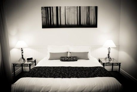 """The """"Elysian"""" luxury park view apartment - main bedroom in black and white. #holiday #glenelg #apartment #luxury #bedroom #southaustralia #vacation #travel"""