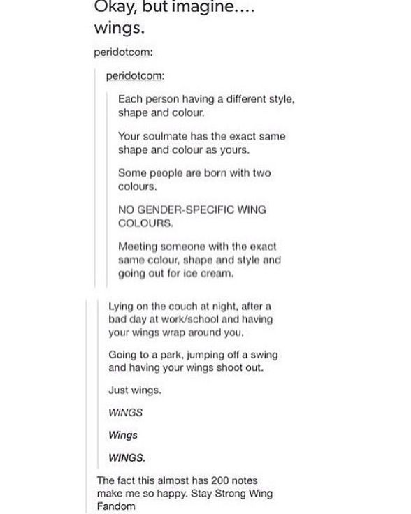 Wing Fandom. Can we please discuss the fact that there is now a WING FANDOM. Tumblr has officially lost it's mind.