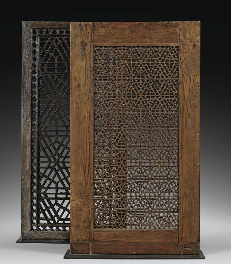"Deux fenêtres en ""Moucharabieh"", Vallée de l'Hindustan, XIXE siècle"