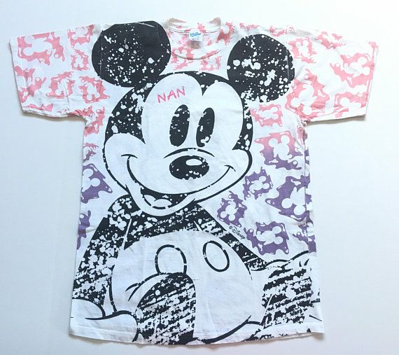 1990s Mickey Mouse Disney All Over Print Vintage T Shirt Size Large Vintage Tshirts Mickey Mouse Mickey
