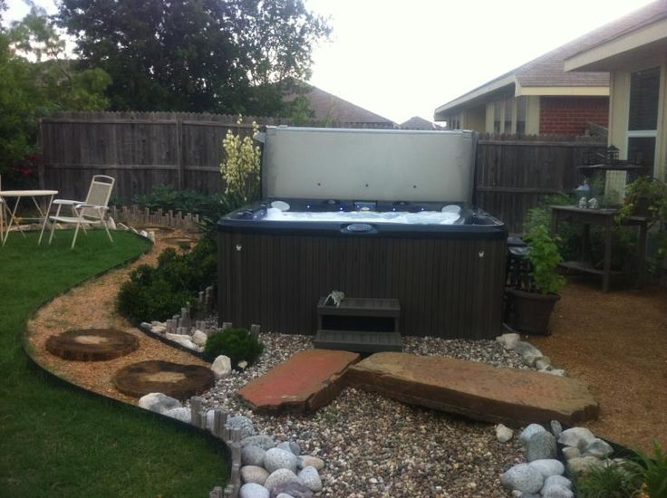 9 best built in hot tub images on pinterest whirlpool for Outdoor spa decorating ideas