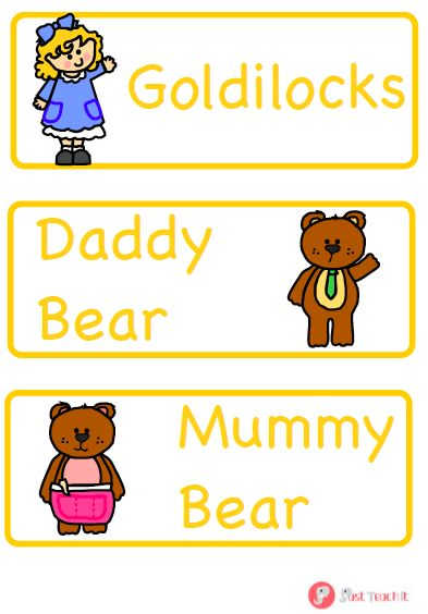 Goldilocks and the Three Bears Labels / Flash Cards - A colourful, visual set of 9 labels displaying key vocabulary from Goldilocks and the Three Bears. Look great on display. Why not use alongside our Goldilocks word mat? Also available as part of our Goldilocks pack. More FREE resources at: www.justteachit.co.uk