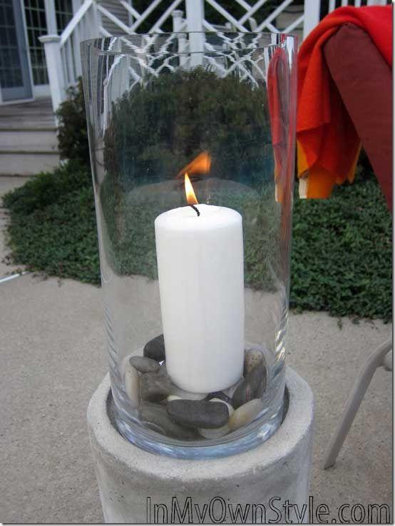 Outside - DIY Concrete Candle Holder