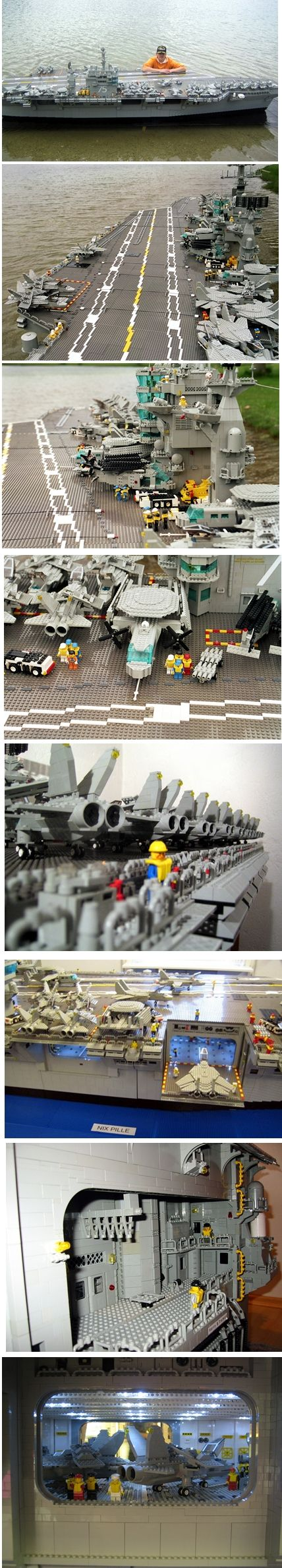 This LEGO Aircraft Carrier - the USS Harry S. Truman (CVN-75) - is 16.5 feet long and almost 4 feet tall. It was built with approximately 200,000 LEGO pieces, and weighs 352 pounds. It has operating electric lights on the flight deck, in the hangar, and inside the aircraft. The hangar elevator is fully movable, as are the radar dishes.