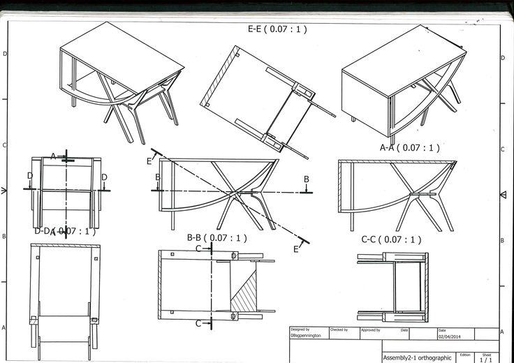 Orthographic projection of AS project 2013/14 designed for a Kitchen Design Firm in East Sussex