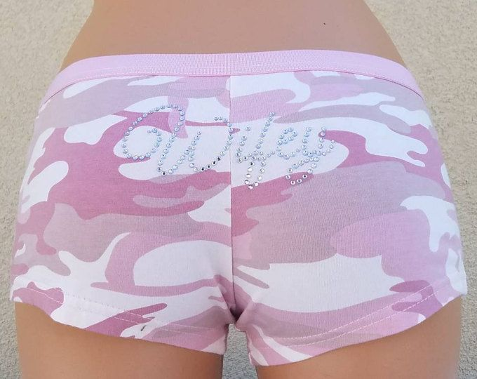 Pink CAMO Boyshorts Wifey & Bows - Personalized Bridal Lingerie - Pink Camo ...