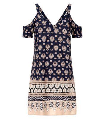 Navy Cold Shoulder Tile Print Border Tunic Dress