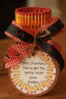 """teacher appreciation - very kid friendly project, too.  We all made this together and filled with chocolate Hershey Kisses & Hugs and changed up the note to: """"Hugs & kisses for our teacher with the 'write' stuff!"""""""
