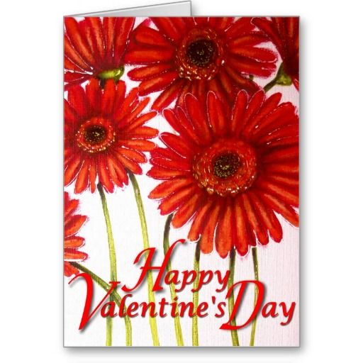 Happy Valentine's Day — Red Gerbera Flowers Card #gerbera #valentinesday