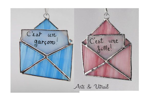 Annonce grossesse enveloppe message de verre rose par ArtsVitrail