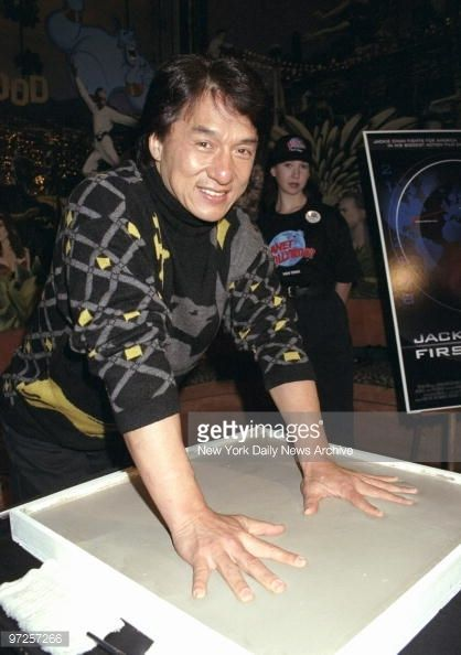 Jackie Chan leaves his mark in cement at Planet Hollywood where he was promoting his new movie 'Jackie Chan's First Strike'