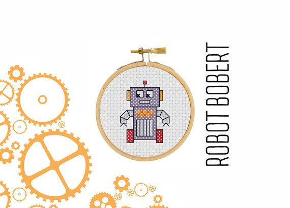 Robot Robert  borduur patroon  mini robot  pixel art