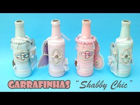 Garrafas Recicladas e Decoradas Estilo Shabby Chic ( ARTESANATO, DIY, RE...