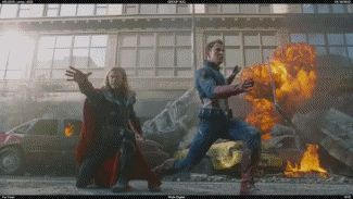 Get it together Thor! Did they seriously catch the shield and hammer?! I thought it was cgi