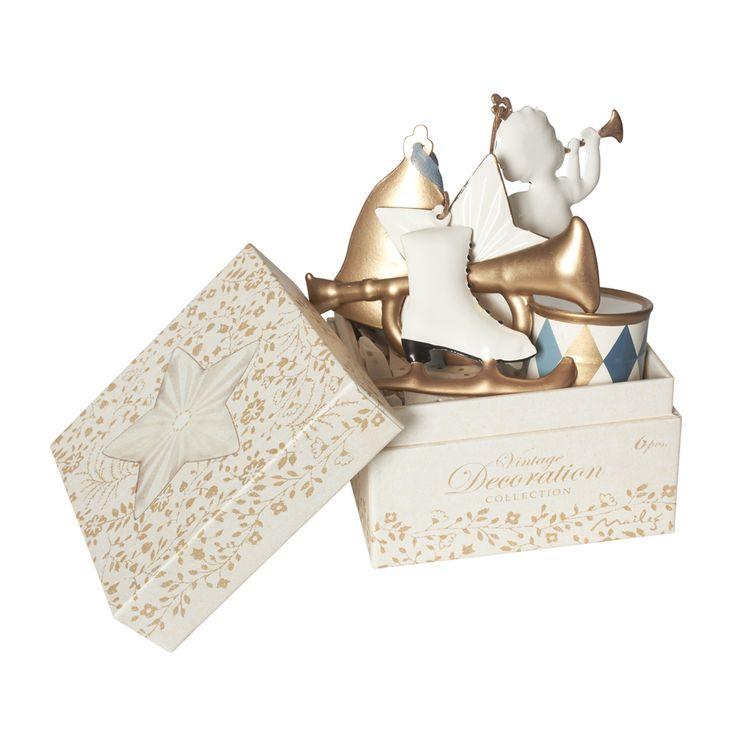 Julgranshängen 6-pack vit/guld