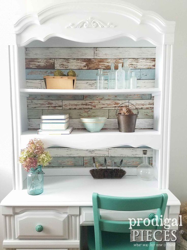 Hutch Desk Refreshed with Wall Pops! Removable Wallpaper and Paint by Prodigal P...
