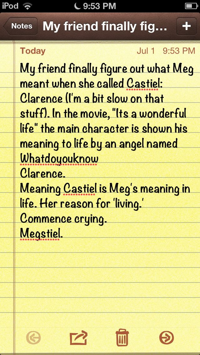 """The meaning of Castiel's nickname of Clarence. <-- It gives more meaning knowing that the Jimmy is Castiel's human vessel, and Jimmy Stewart was in """"It's a Wonderful Life"""""""