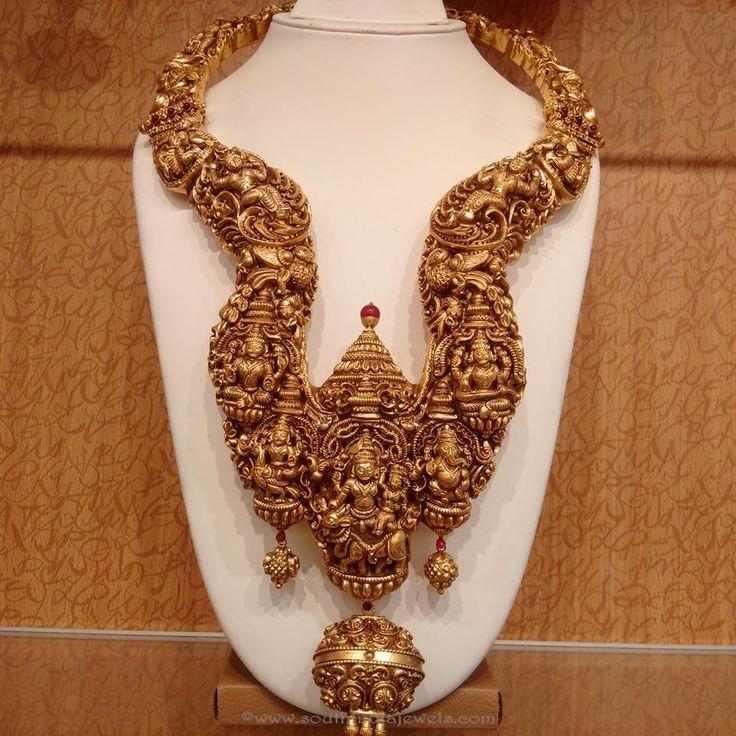 Gold Nakshi Long Necklace designs, Nakshi Long Necklace, Gold Long necklace…