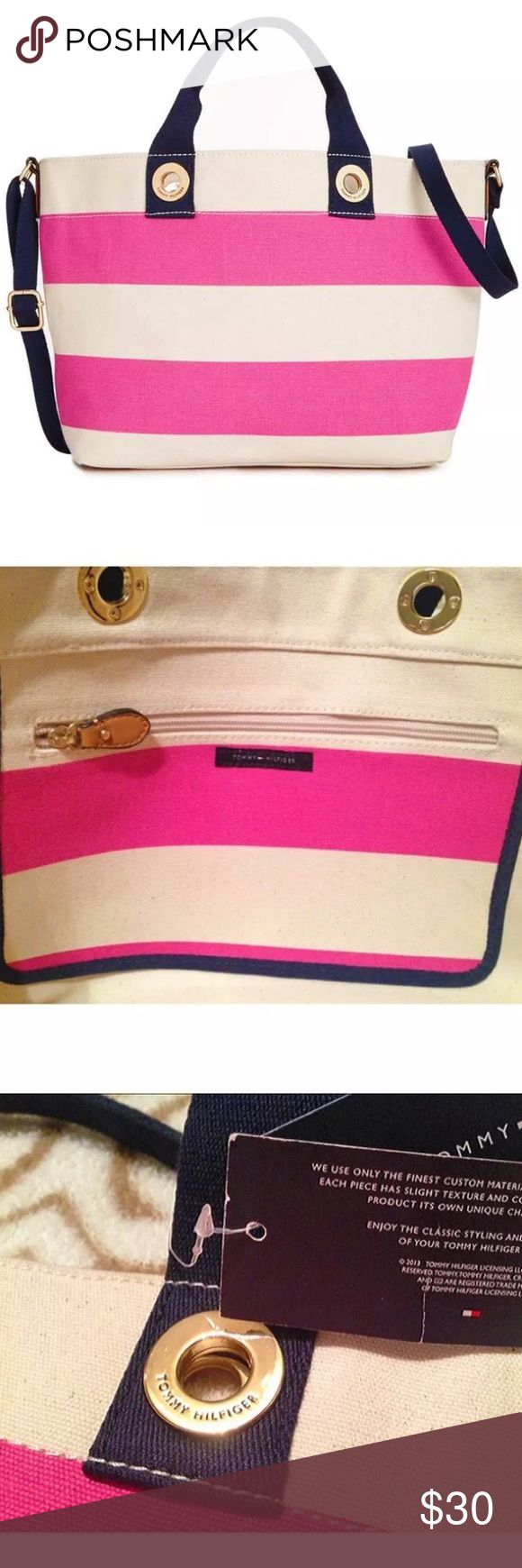 "Tommy Hilfiger Rugby Stripe Medium Tote Canvas Bag Gorgeous Tommy Hilfiger Grommets Woven Rugby Stripe Medium Tote Canvas Bag  Condition: New without tags. Clean inside & out from smoke-free home.  Raspberry pink & cream stripes with navy handles. Grommet detail logo. 1 zippered pocket inside. Great open closure everyday bag, school, work or over night bag. Big enough for laptop, change of clothes & everyday electronics/necessities. Great for beach as well. Thick canvas is sturdy.  H: 10"" x…"