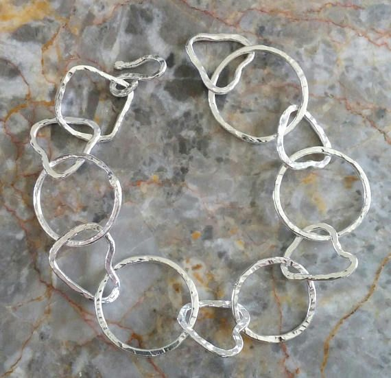 Fine Silver fused bracelet with heart and round shaped links