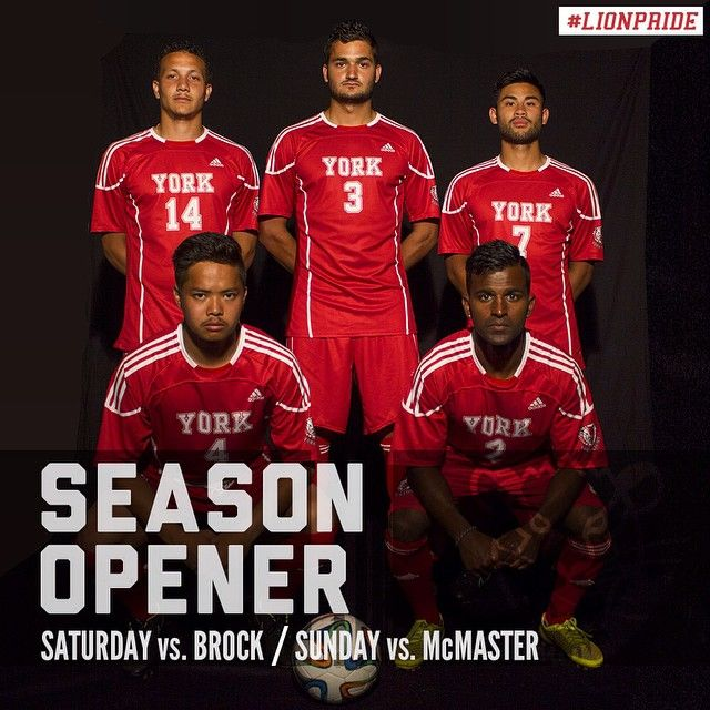 The men look to defend their OUA banner starting on Saturday! Both games at the stadium are at 3:15pm! T-shirt toss at halftime! #yorku #lionpride #yorklions #soccer